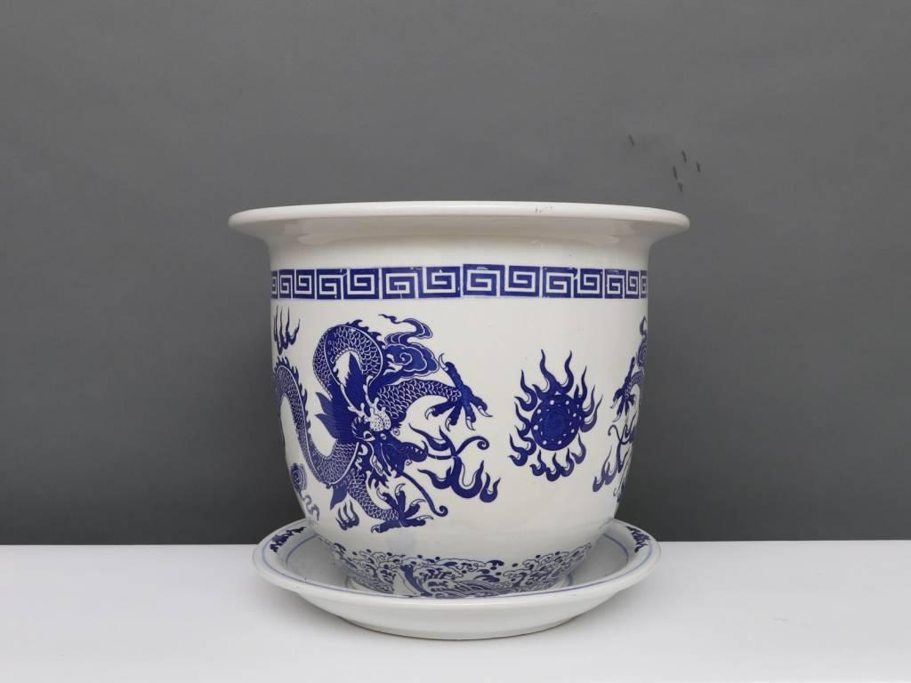 Yajutang Möbel GmbH & China Porcelain Flowerpot Blue-White with Dragon Motif Ø 33cm