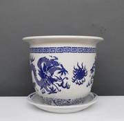 Yajutang Blumentopf mit Untersetzer, Porzellan Blaumalerei Drachenmotiv Ø 40cm