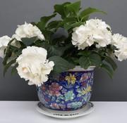 Yajutang Blumentopf Blau mit bunten Blumen Ø 24cm
