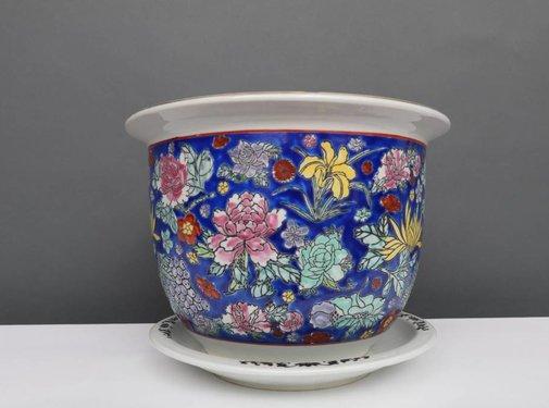 Yajutang Blumentopf Blau mit bunten Blumen Ø 32cm
