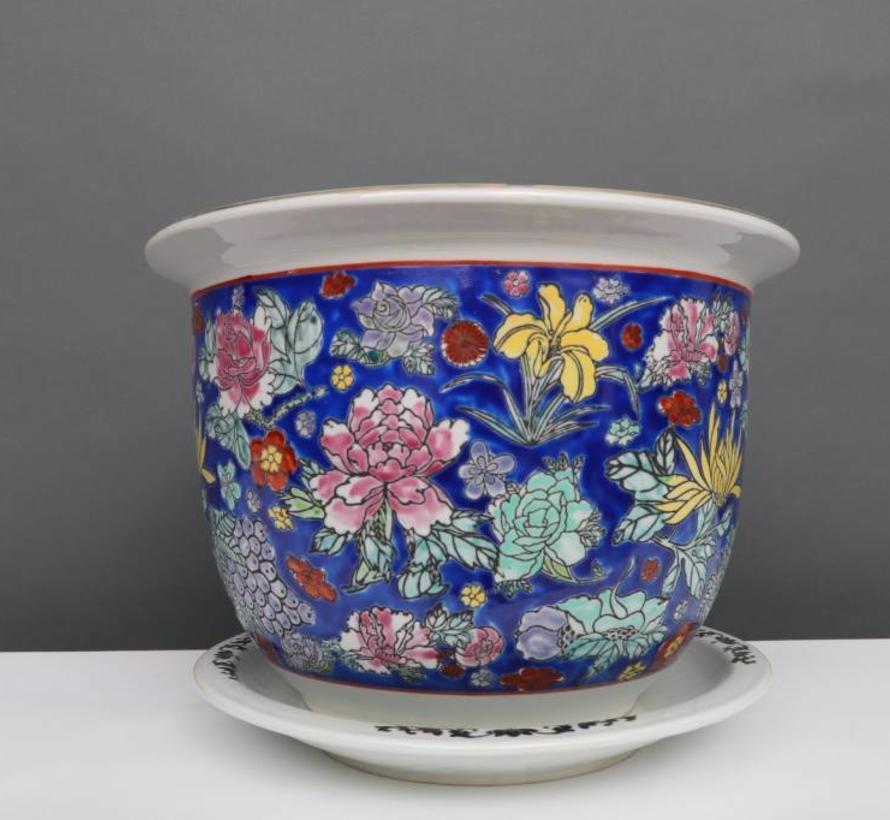China Porzellan Blumentopf  Blau mit bunten Blumen Ø 32cm