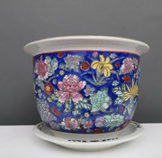 Yajutang Flowerpot blue & colorful flowers Ø 49