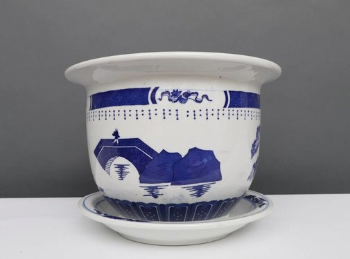 Yajutang Blumentopf Blau-Weiß mit Landschaft Ø17