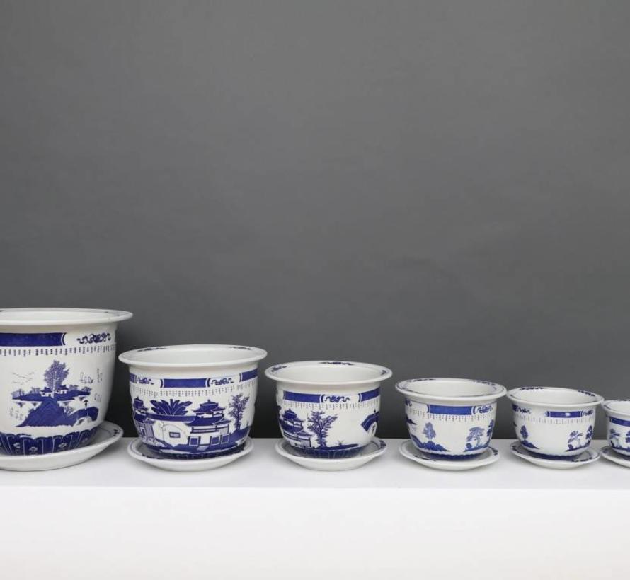 China Porzellan Blumentopf Blau-Weiß mit Landschaft Ø 17cm