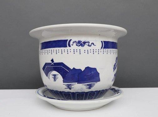 Yajutang Blumentopf Blau-Weiß mit Landschaft Ø20