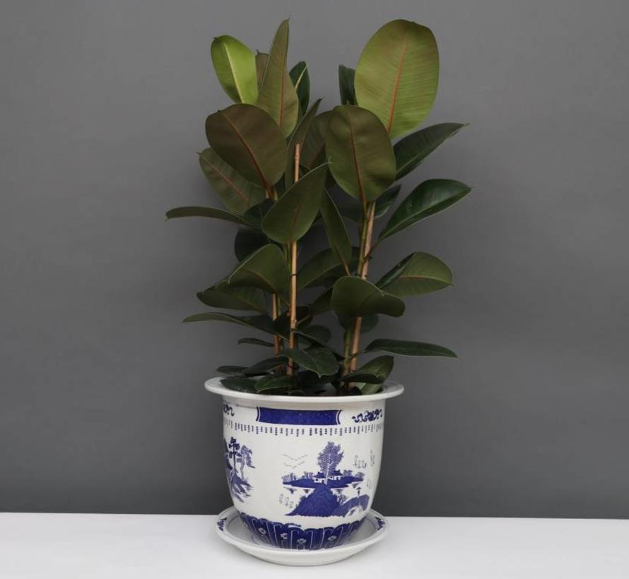 China Porzellan Blumentopf Blau-Weiß mit Landschaft Ø 20cm