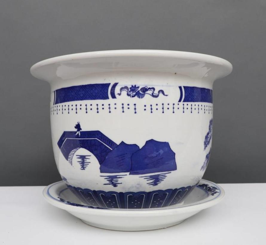 China Porcelain Flowerpot Blue-White with Landscape Ø 24cm