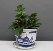 Yajutang Flowerpot Blue-White with Landscape Ø28