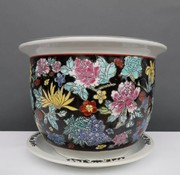 Yajutang Flowerpot black & colorful flowers Ø 49
