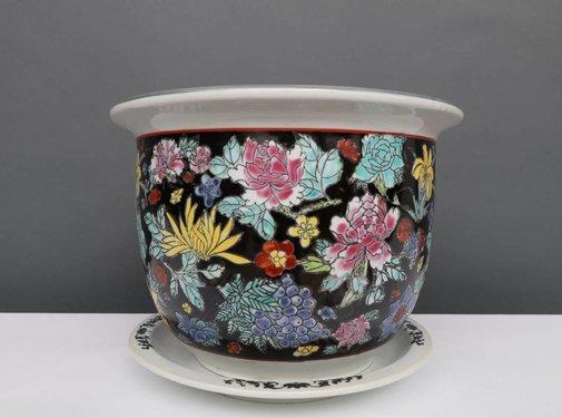 Yajutang Blumentopf  mit Untersetze,  Porzellan Schwarzmalerei, Blumenmotiv Ø 49cm