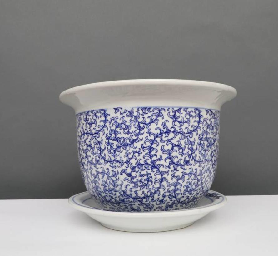 China porcelain flowerpot Blue-White  & snail leaves Ø 40cm