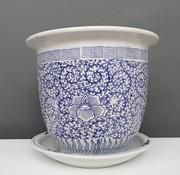 Yajutang Flowerpot Blue-White & Snail Leaf Ø 40cm