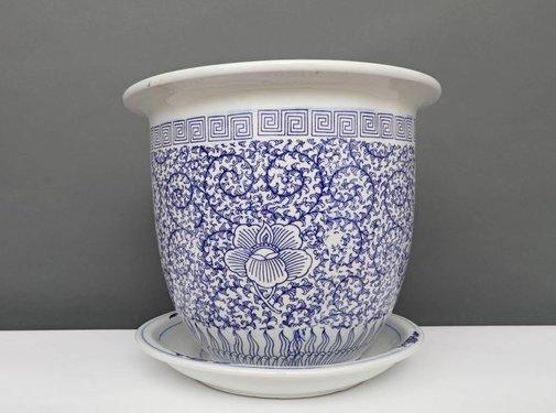 Yajutang Blumentopf Blau-Weiß & Schneckeblatt Ø40