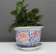 Yajutang Blumentopf Blau-Weiß & roten Blumen Ø17