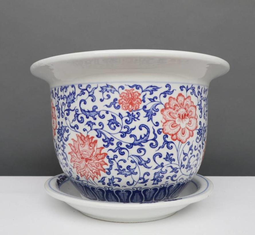 China Porzellan Blumentopf Blau-Weiß mit roten Blumen Ø 17cm