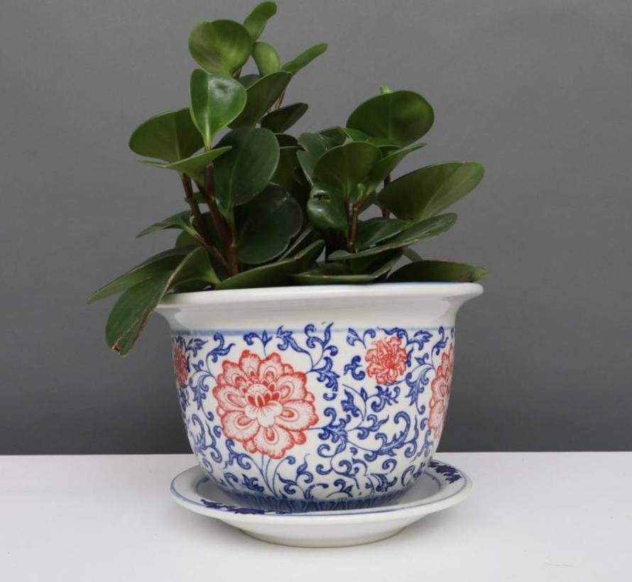 China Porzellan Blumentopf Blau-Weiß mit roten Blumen Ø 20cm