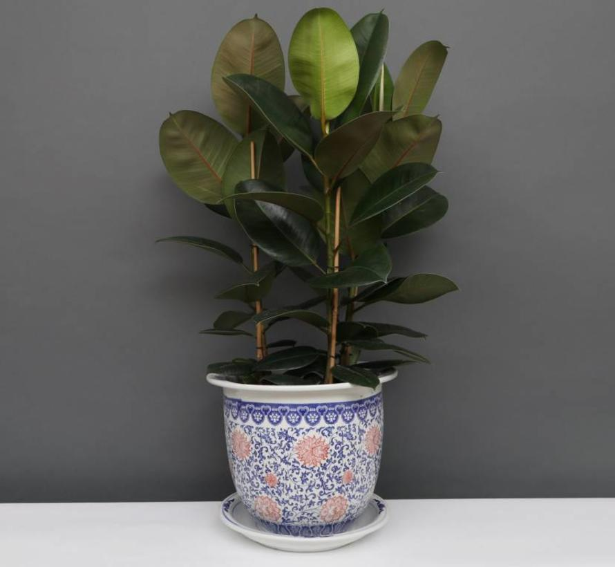 China Porcelain Flowerpot Blue-White with red Flowers Ø 28cm