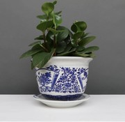 Yajutang Flowerpot blue-white with peony Ø 17cm
