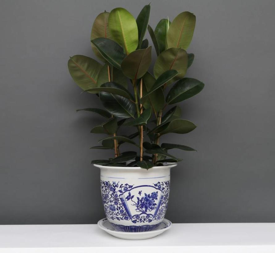 China Porzellan Blumentopf Blau-Weiß mit Pfingstrose Ø 24cm