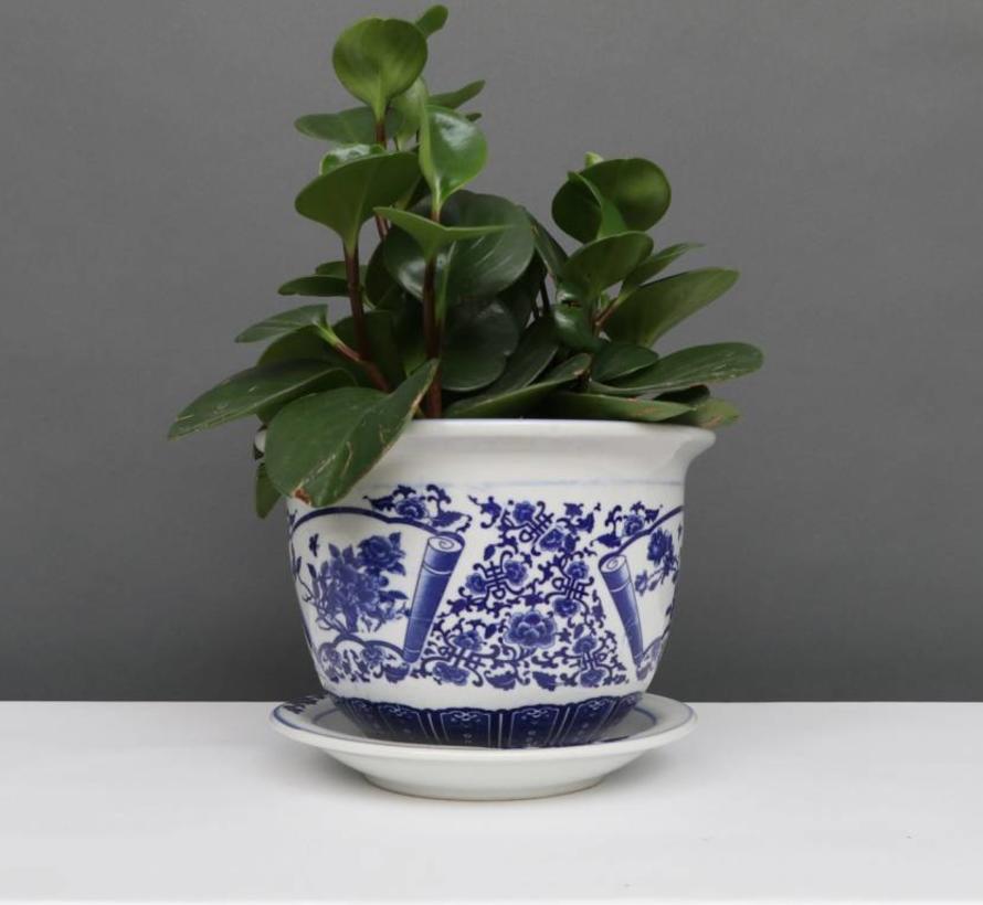 China Porzellan Blumentopf Blau-Weiß mit Pfingstrose Ø 28cm