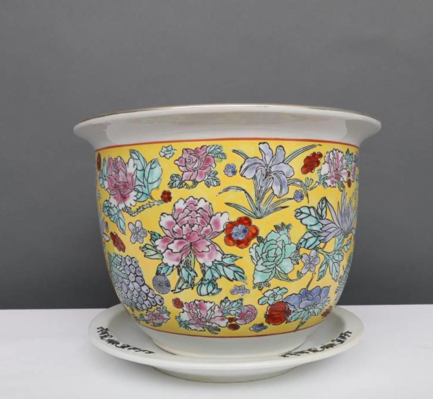 China Porcelain flowerpot yellow with colorful flowers Ø 24cm