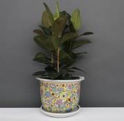 Yajutang Blumentopf  mit Untersetzer,  Porzellan Gelbmalerei Blumenmotiv Ø 49 cm
