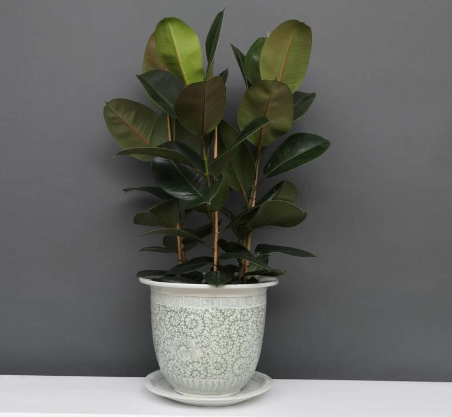 China porcelain flowerpot white-green  & snail leaves Ø 20cm