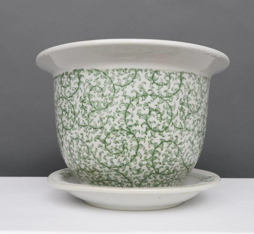 China Porzellan Blumentopf Weiß-Grün schnecken Blätter Ø 28cm
