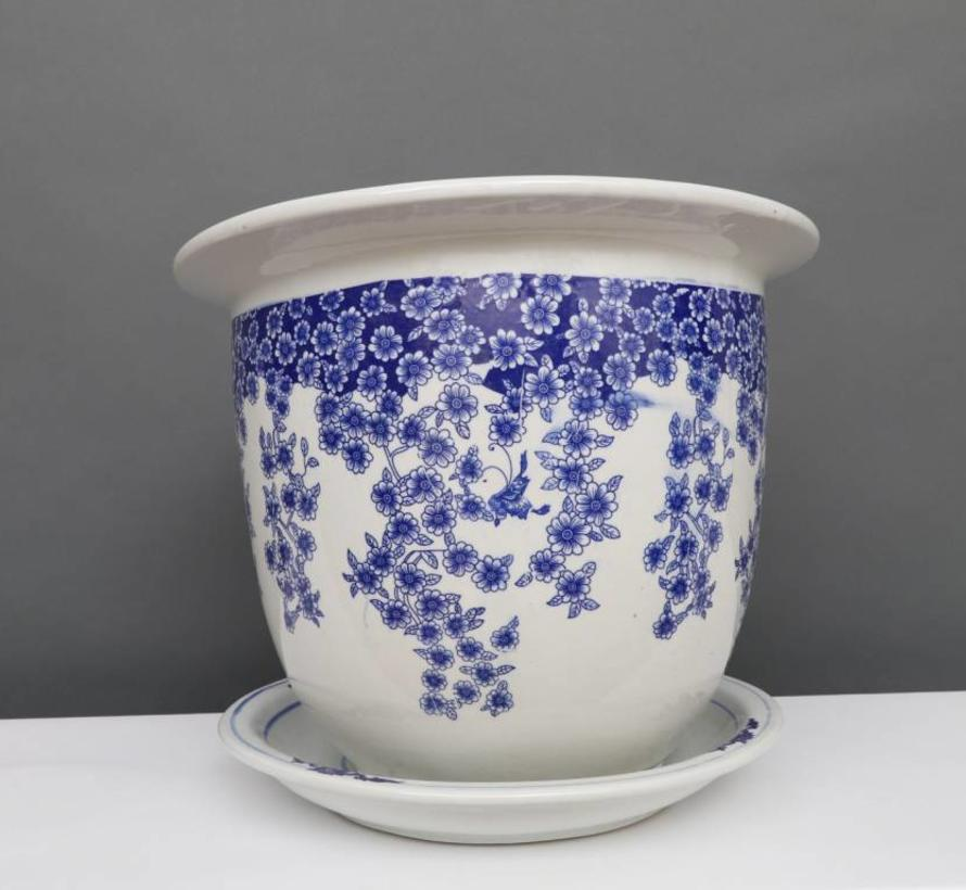 China porcelain flowerpot blue-white with butterfly Ø 17cm
