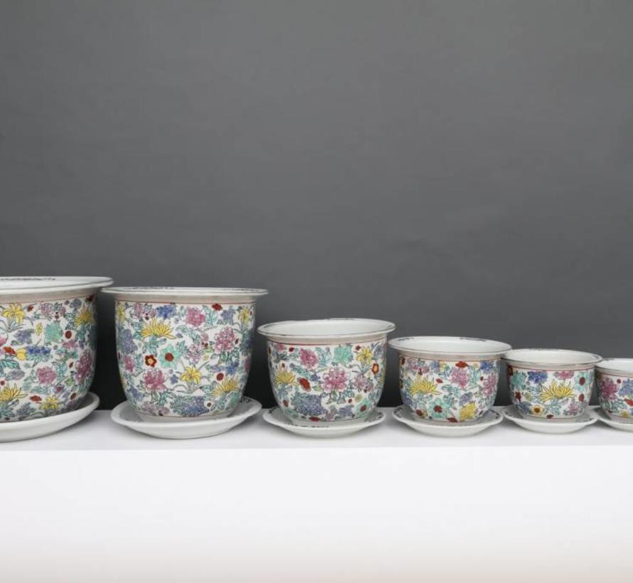 China Porcelain flowerpot white with colorful flowers Ø 17cm