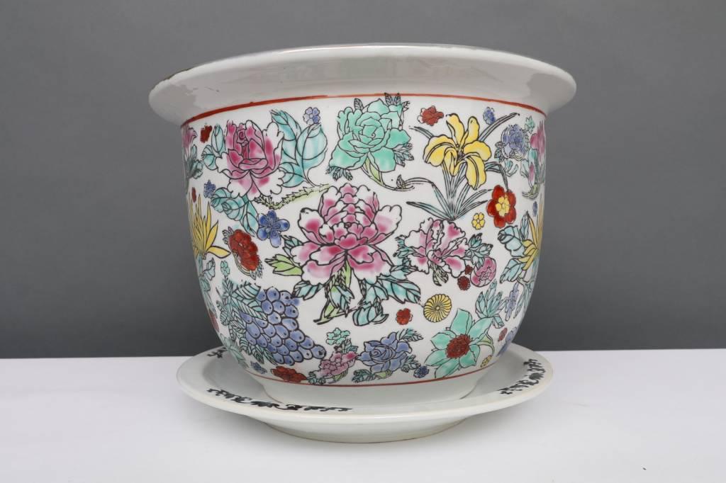 China Porzellan Blumentopf  Weiß mit bunten Blumen Ø 17cm #P-BLU-P51-1
