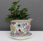 Yajutang Flowerpot white & colorful flowers Ø 20