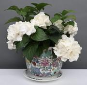 Yajutang Blumentopf Weiß mit bunten Blumen Ø 29cm