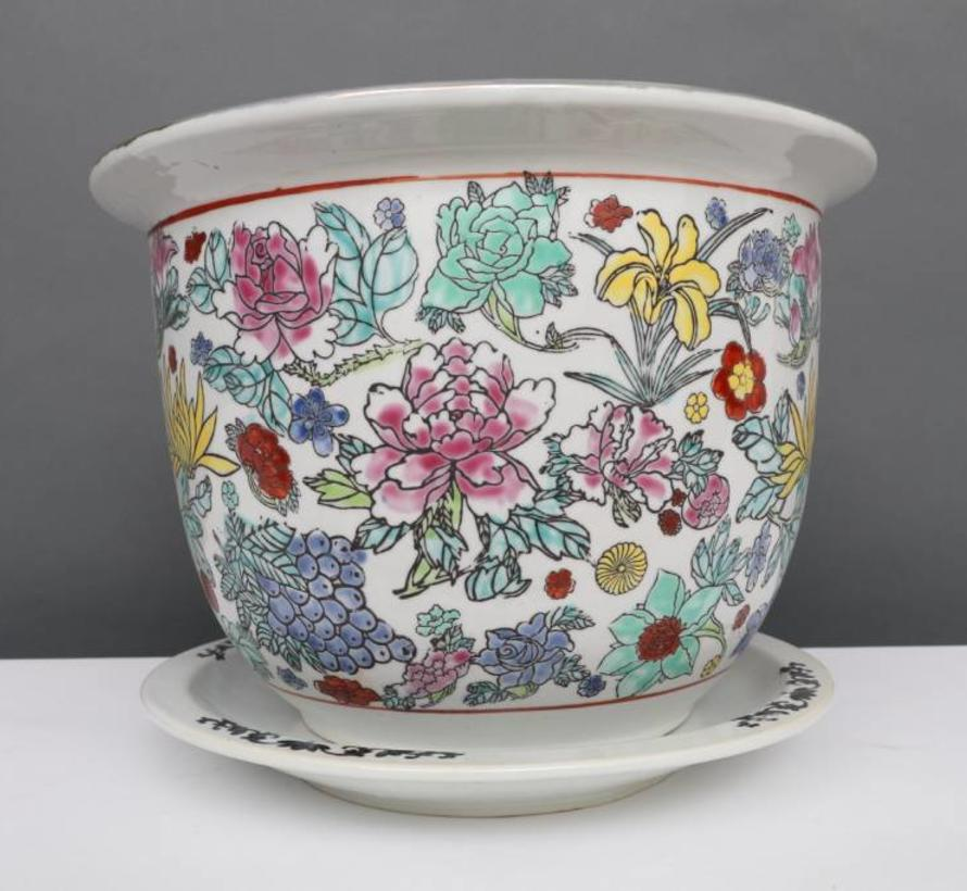 China Porcelain flowerpot white with colorful flowers Ø 28cm
