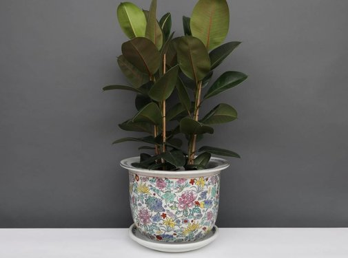 Yajutang Flowerpot white & colorful flowers Ø 49