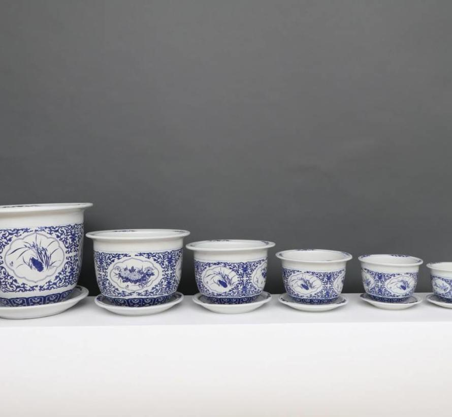 China Porcelain Flowerpot Blue-White with Four Flowers Ø 33cm