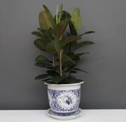Yajutang Blumentopf Blau-Weiß mit Vier Blumen Ø33