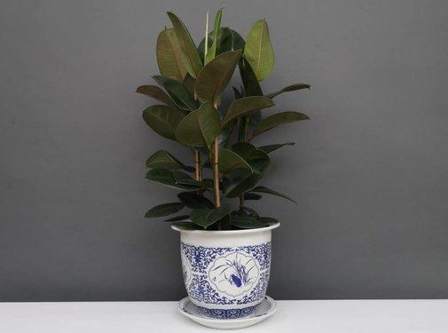 Yajutang Flowerpot Blue-White & Four Flowers Ø33