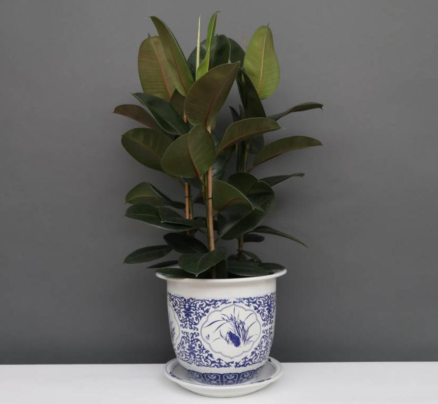 China Porzellan Blumentopf Blau-Weiß mit Vier Blumen Ø 33cm