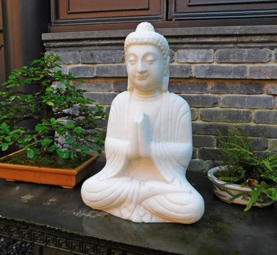 Marmor Buddha Figur sitzend Statue Garten Deko