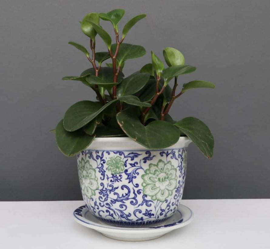 China Porzellan Blumentopf Blau-Weiß mit grünen Blumen Ø 17cm