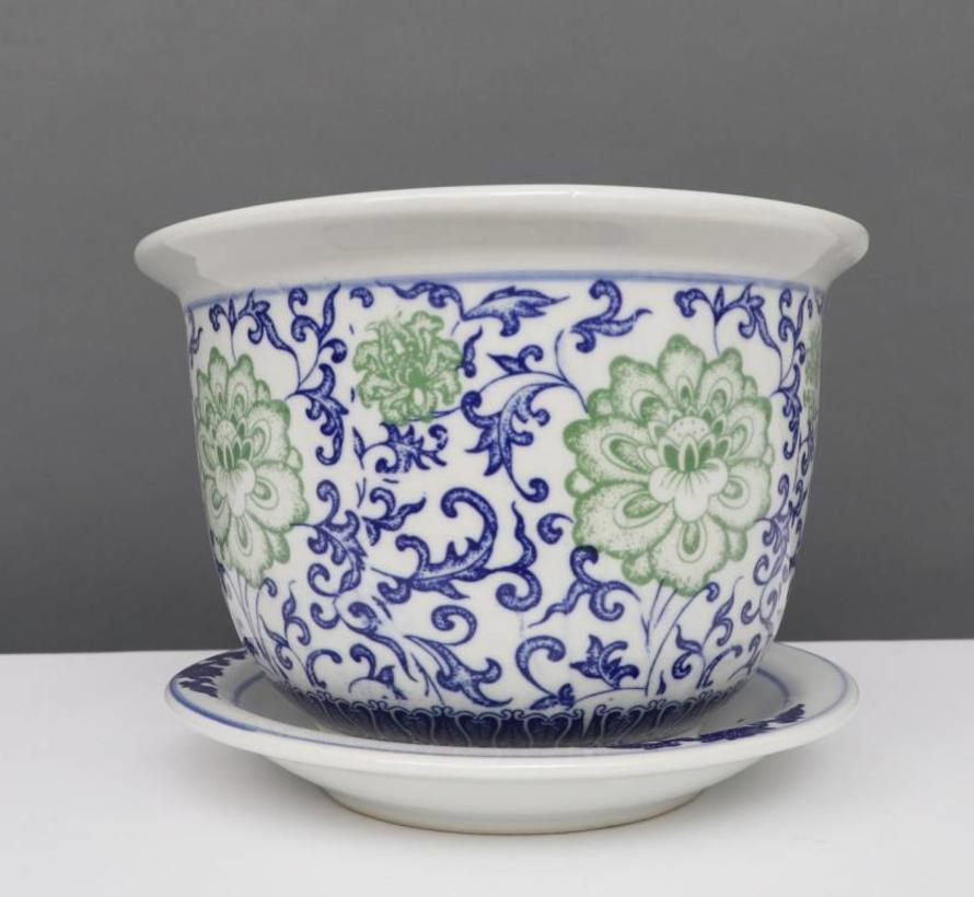 China Porzellan Blumentopf Blau-Weiß mit grünen Blumen Ø 20cm