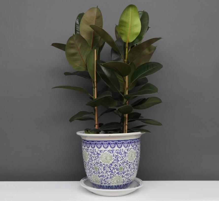 China Porzellan Blumentopf Blau-Weiß mit grünen Blumen Ø 24cm
