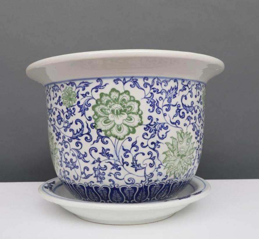 China Porzellan Blumentopf Blau-Weiß mit grünen Blumen Ø 29cm