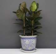 Yajutang Flowerpot Blue-White & Green Flowers Ø33