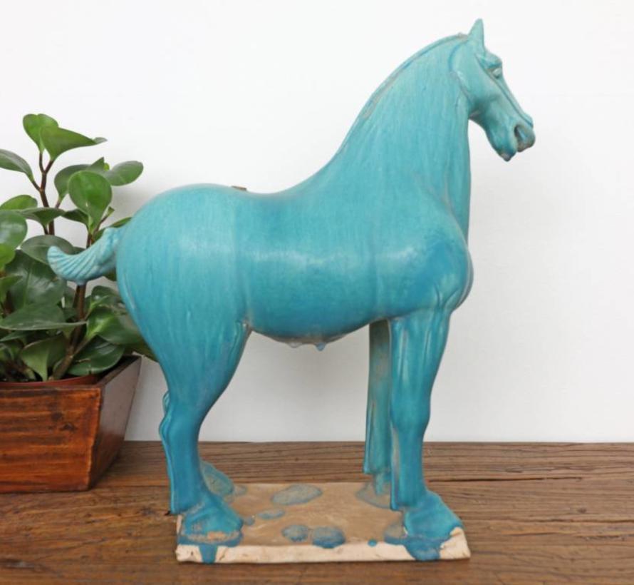 Tang-Pferd Terrakotta Feng Shui Symbol Ausdauer Sieg türkis
