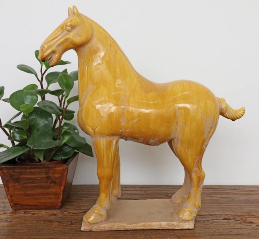Tang-Pferd Terrakotta Feng Shui Symbol Ausdauer Sieg gelb