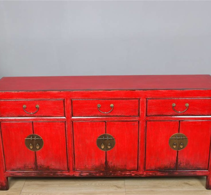 Sideboard 6 doors 3 drawer long storage cabinet antique used red