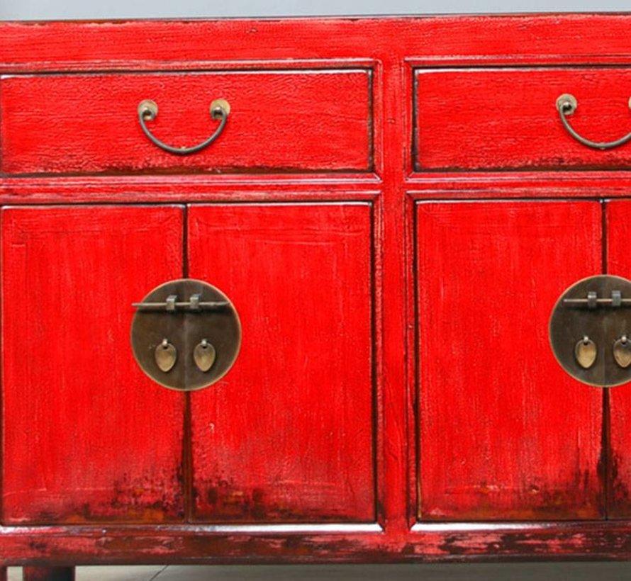 Sideboard 6 Türen 3 Schublad langer Vorratsschrank antik used rot
