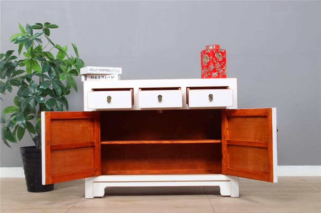 Sideboard Diele Sideboard 2 Türe 3 Schublad Weiß Lack Moderne Optik